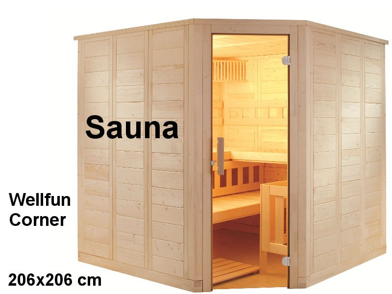 Sauna Bausatz WELLFUN CORNER 206x206cm - Saunakabine
