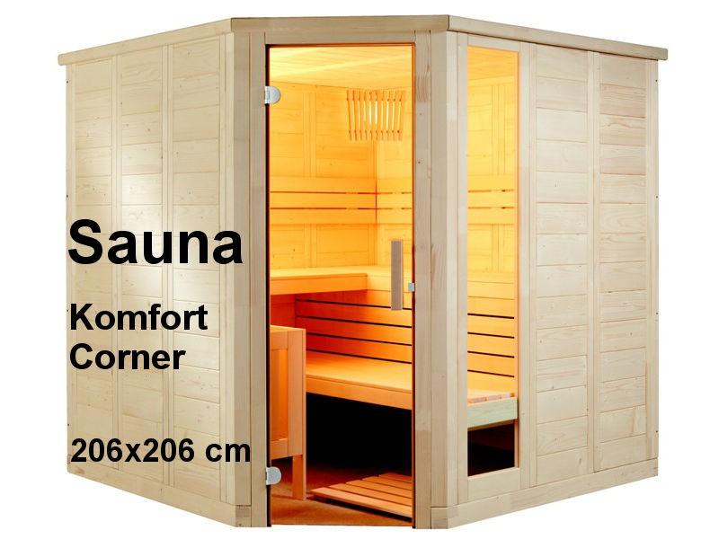 Sauna Bausatz KOMFORT CORNER 206x206cm - Saunakabine