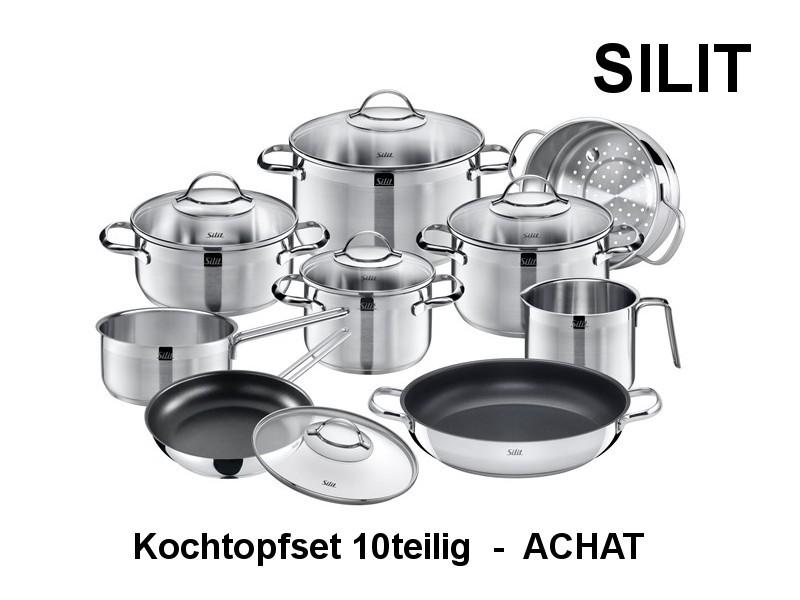 Kochtopf Set ACHAT 10-tlg, verschiedene Töpfe und Pfannen Edelstahl