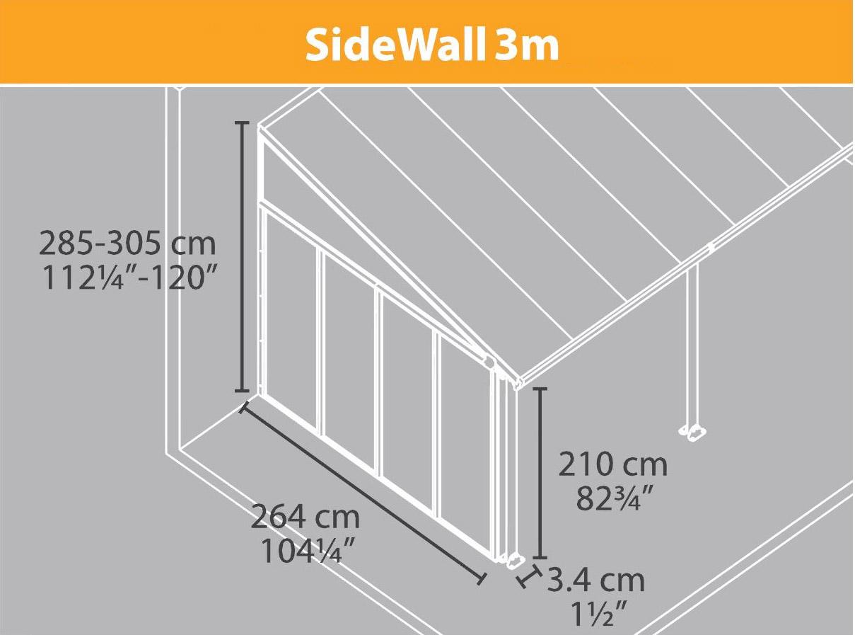 palram terrassendach 1x seitenwand haus. Black Bedroom Furniture Sets. Home Design Ideas