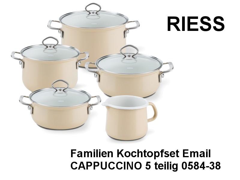 RIESS Email Kochtöpfe Topfset 5-teilig CAPPUCCINO