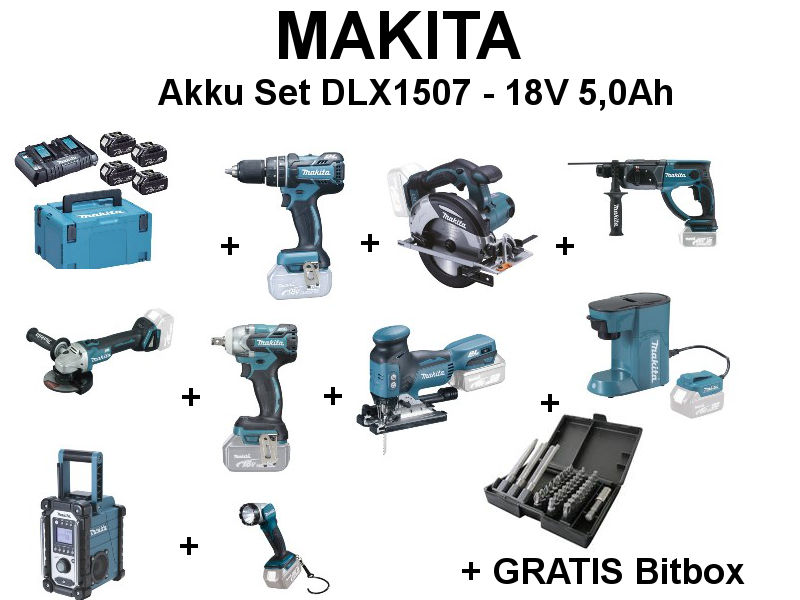 makita set akku 18v dlx1507 9 ger haus. Black Bedroom Furniture Sets. Home Design Ideas